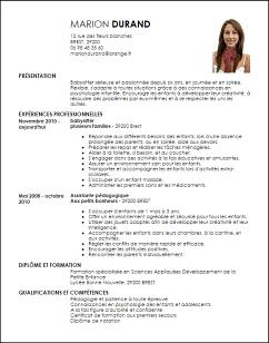 Cv Gratuit Baby Sitting Curriculum Vitae Babysitting Best Resume Format