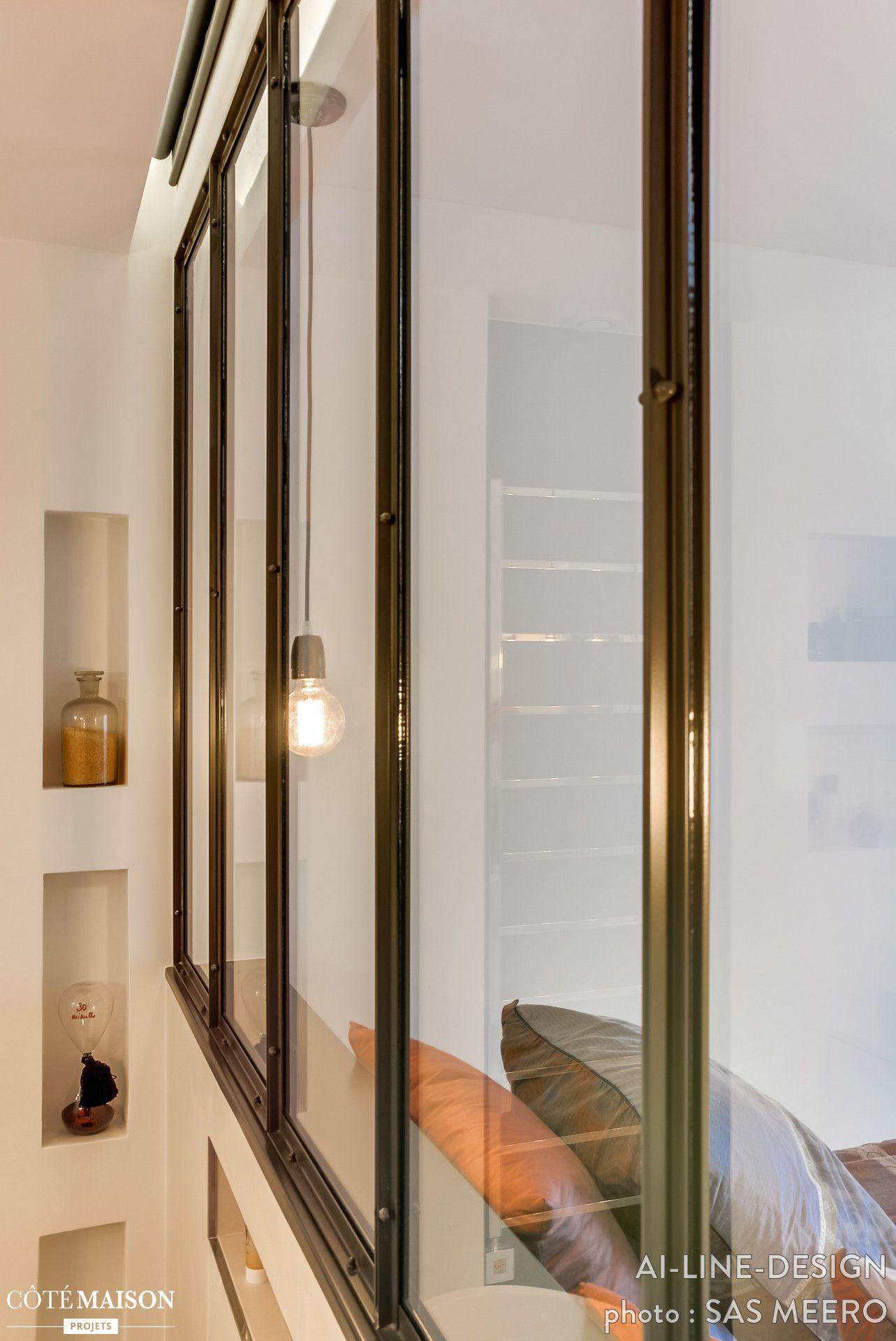 industrile scheidingswand tussen slaapkamer en badkamer