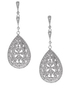 Icz Stonez Sterling Silver Cz Pear Dangle Earrings Featuring A Cut