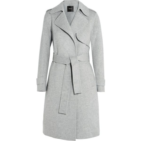 Theory Oaklane brushed wool and cashmere-blend coat (£565) ❤ liked on Polyvore featuring outerwear, coats, jackets, grey, woolen trench coat, trench coats, gray trench coat, cashmere blend coat and wool trench coat