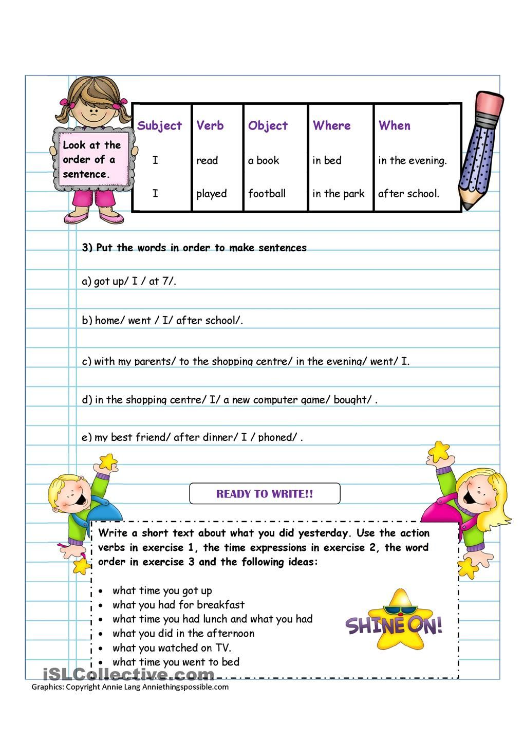 Writing What You Did Yesterday English Activities For Kids Writing Skills Writing [ 1440 x 1018 Pixel ]