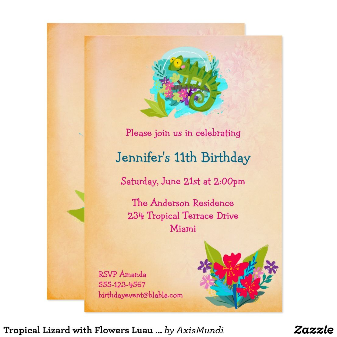 Tropical lizard with flowers luau birthday invite zazzle explore zazzle invitations birthday invitations and more filmwisefo