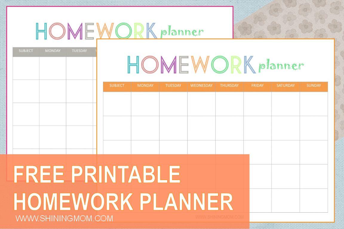 Free Printable Homework Planner With Homework Agenda
