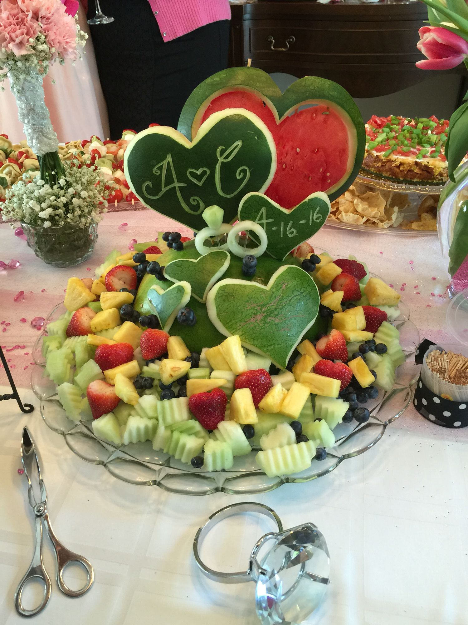 Watermelon Fruit Tray With Wedding Rings Made From A Cuber Cakes And Food Pinterest Trays