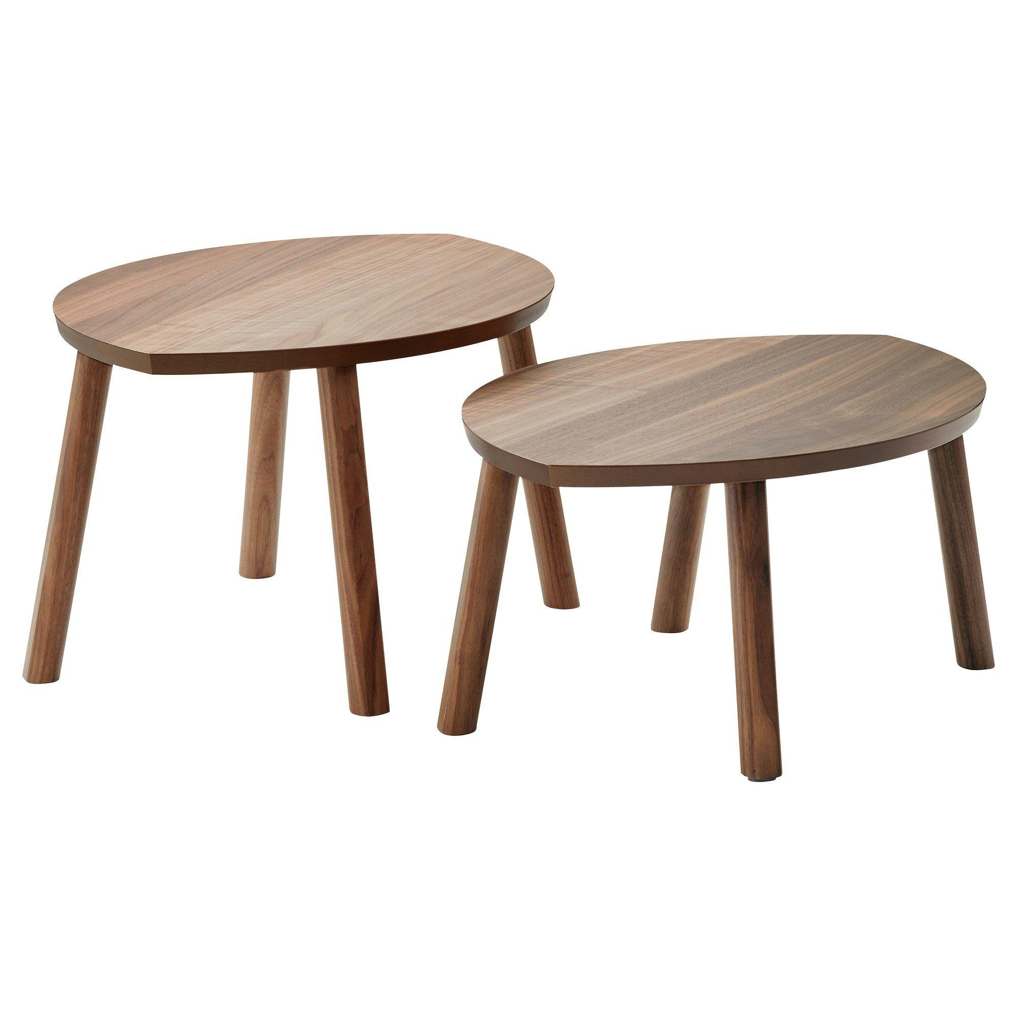 Stockholm Nesting Tables Set Of 2 Walnut Veneer Ikea Ikea Coffee Table Ikea Stockholm Nesting Tables [ 2000 x 2000 Pixel ]