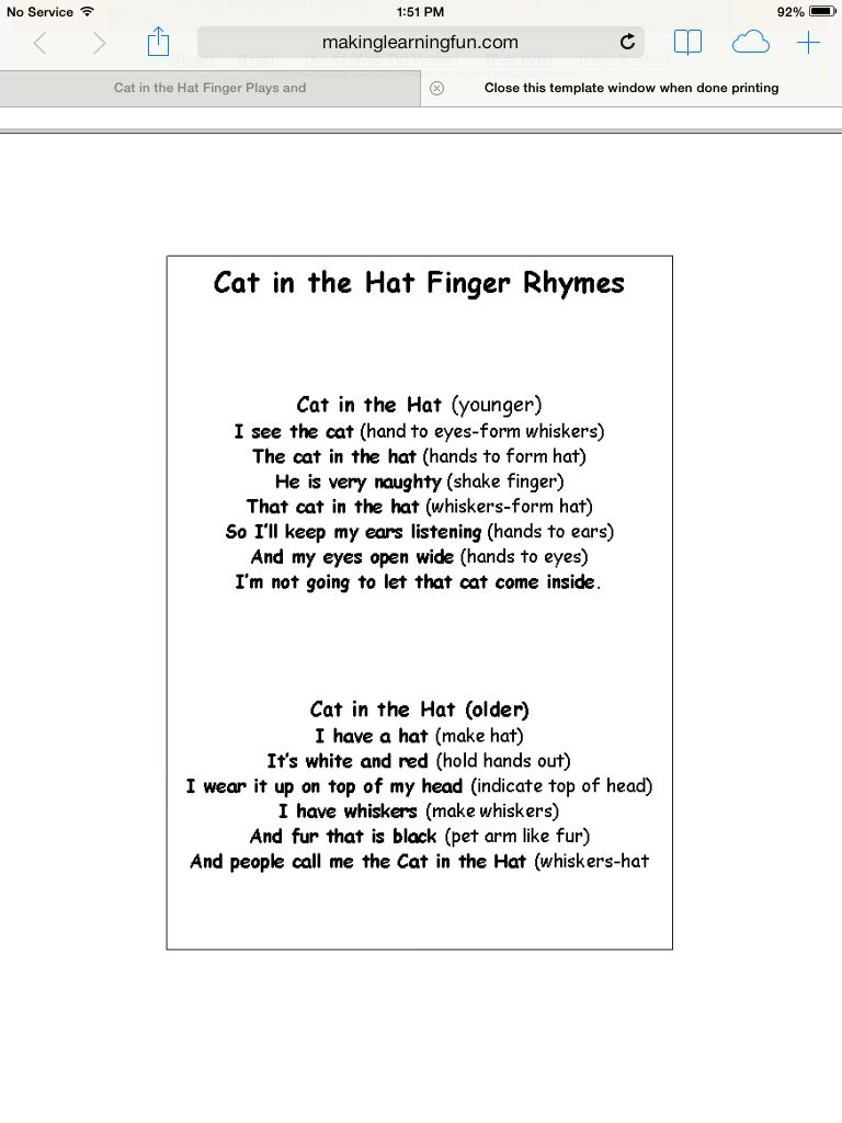 Cat in the hat fingerplay | Dr  Seuss Curriculum | Dr seuss crafts