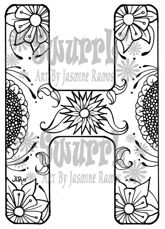 instant download coloring page monogram letter h by swurrl on etsy 099