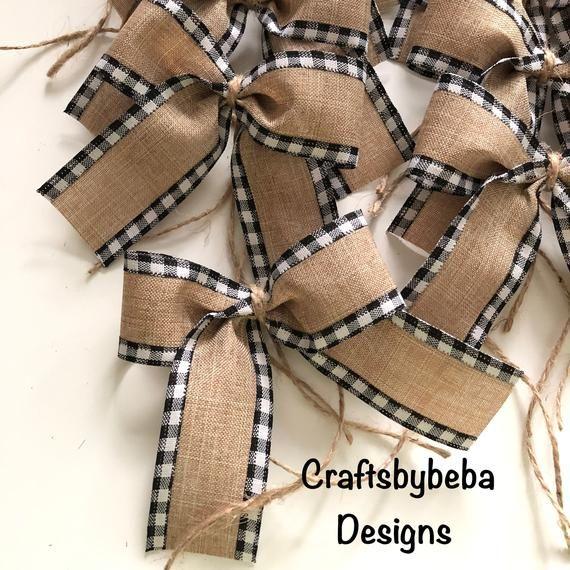 Burlap Christmas Bows / Set of 12 Bows / Xmas Tree Bows / Christmas Decorative Burlap Bows / Buffalo Black and White Christmas / Rustic bows -   14 rustic christmas tree topper burlap bows ideas