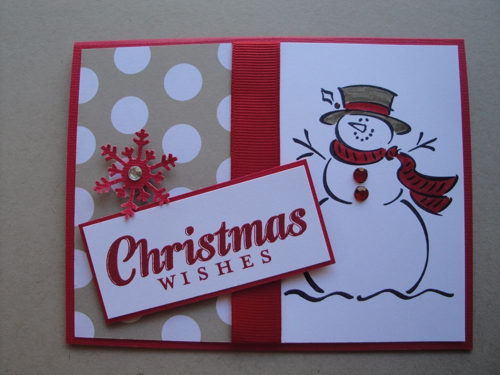 frosty snowman christmas card kit 4 cards lot stampin up