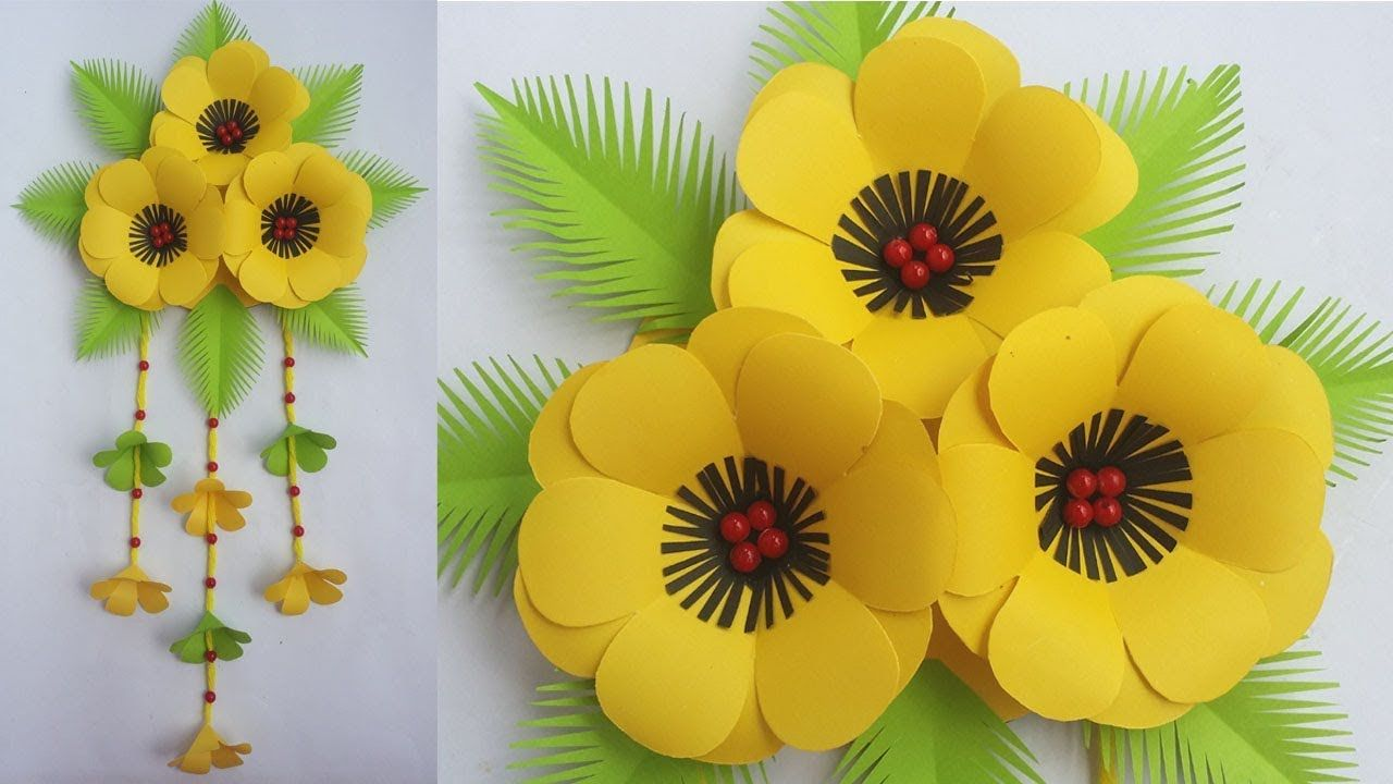 Diy beautiful wall hanging how to make paper flower