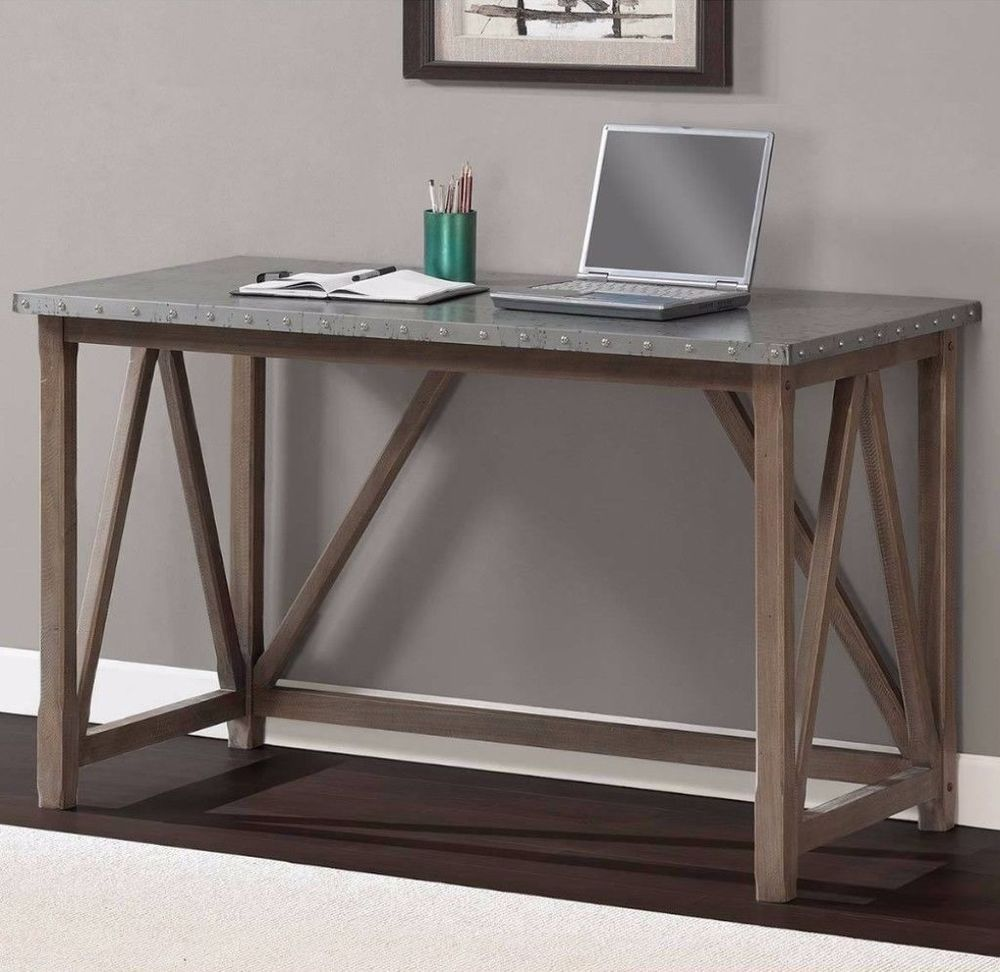 zinc top bridge writing desk weathered sturdy home office furniture