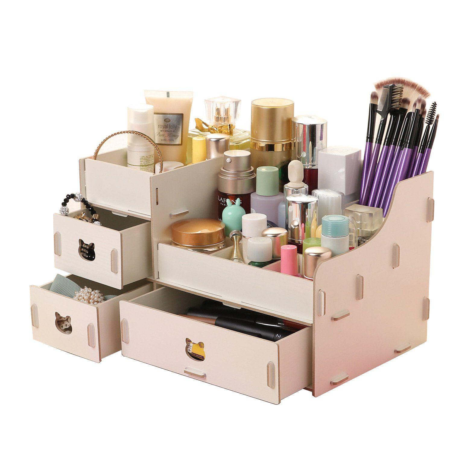 Creative Cute Bear Desk Organiser Drawers Office Storage Bo Lady Jewellery White