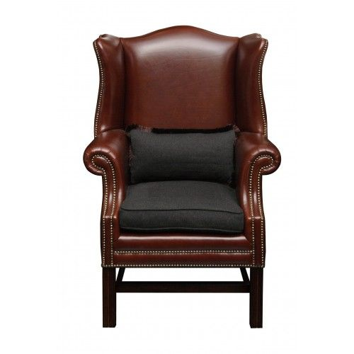 Bergere classic brown leather with seat cushions in gray melange cashmere Loro Piana.