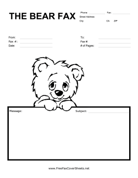 This Cute Fax Cover Sheet Has A Picture Of A Smiling Cartoon Bear
