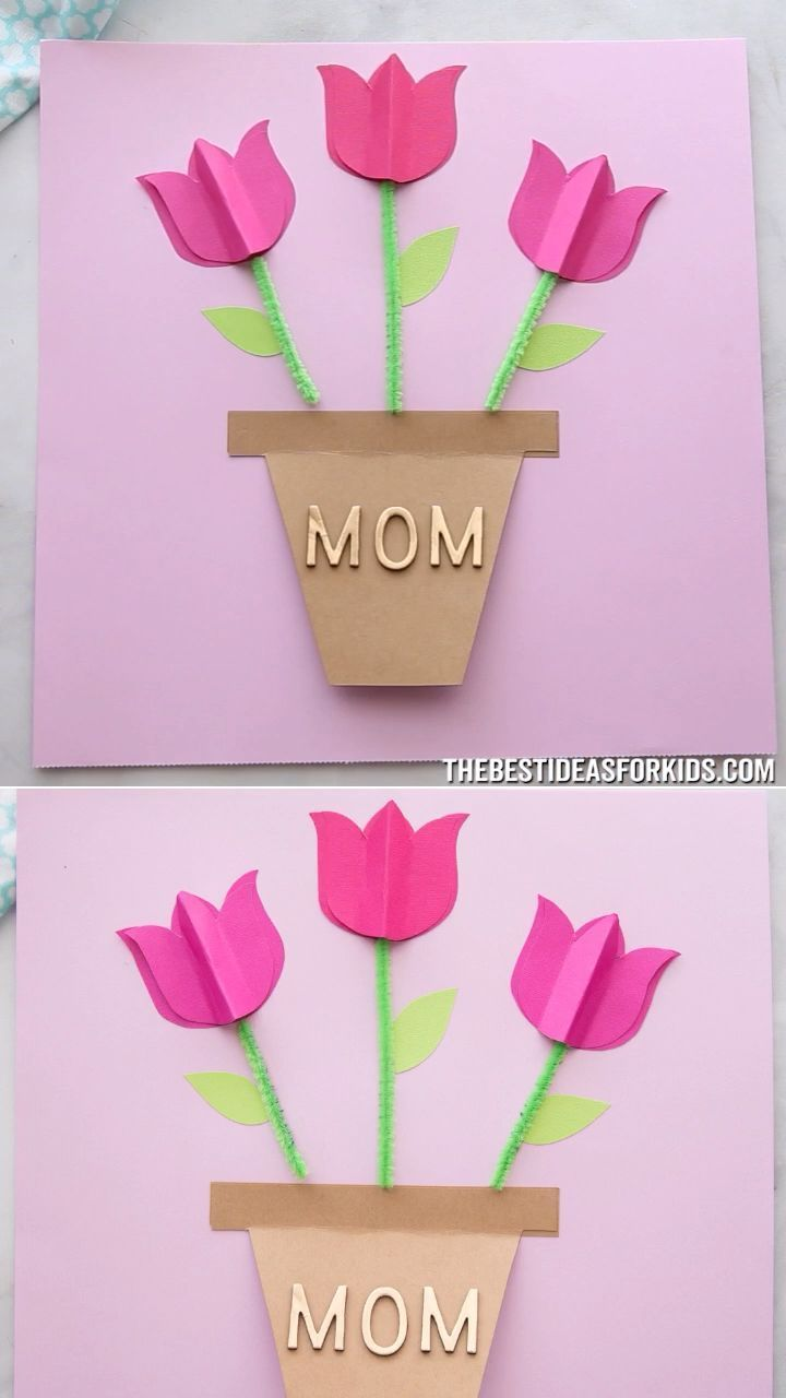 Mother S Day Card Craft Craft Mother Diy Tulips Card Mothers Day Crafts For Kids Mothers Day Crafts