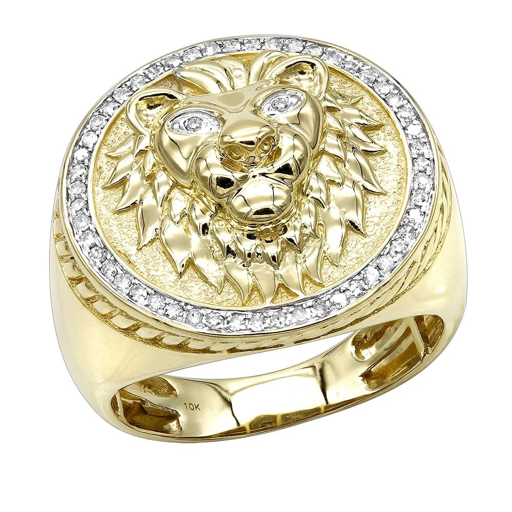 Luxurman solid k gold lion head diamond ring for men ct