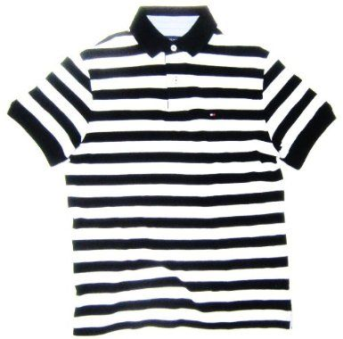 9af50f09f Amazon.com: Tommy Hilfiger Men's Polo Shirt in Black and White Stripes ( CLASSIC FIT): Clothing