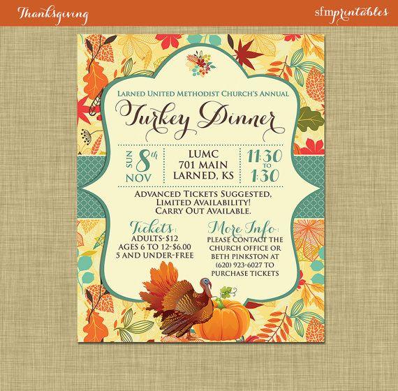 Fall Turkey Dinner Harvest Thanksgiving Invitation Poster – Dinner Tickets Template