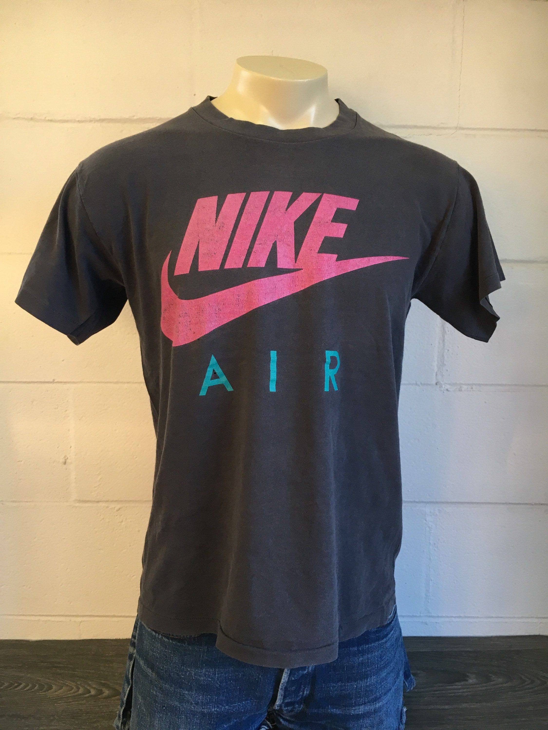 ee67e948658ad Nike Air Shirt 90s Vintage Burn out Black Mirror Image Double Sided ...
