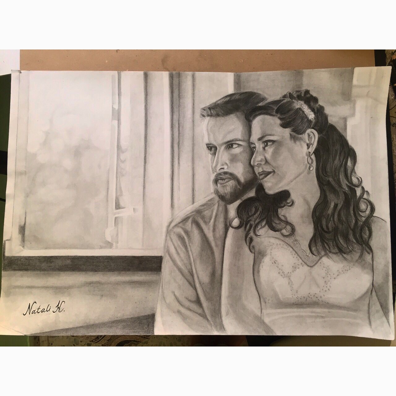 Family love art black and white drawing pencil portrait