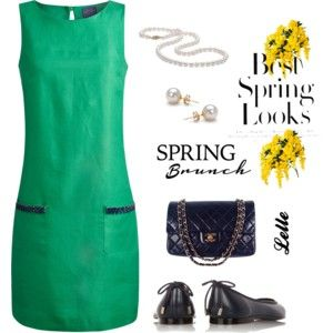 Joules Beaded Shift Dress, Spring Green