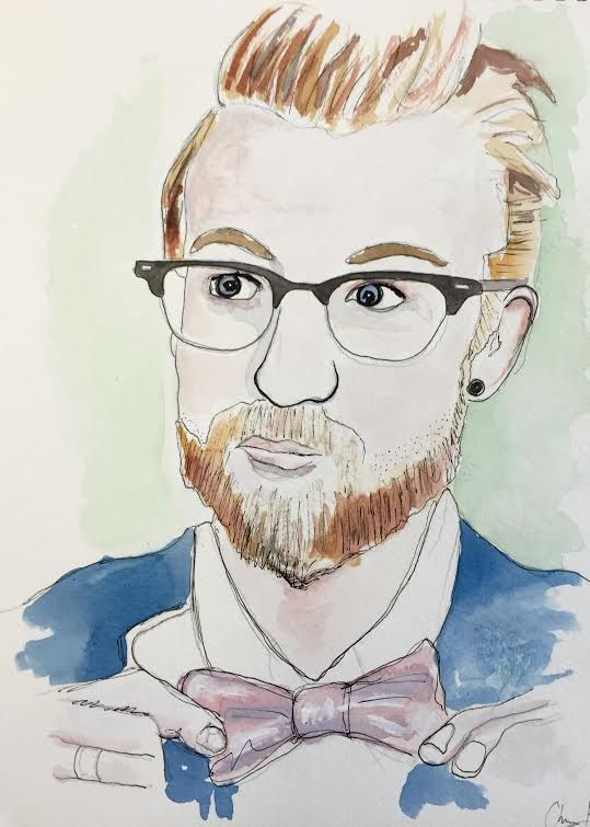Watercolor Portrait Of A Scruffy Guy With A Bow By Chrishillart