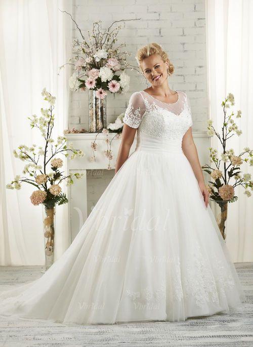 Nice 2017 Plus Size White/Ivory Bridal Gown V-neck Wedding Dress ...