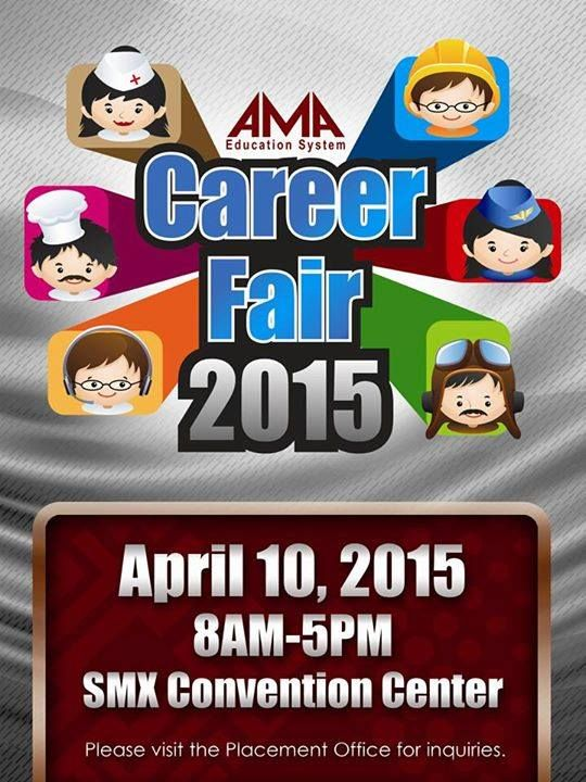 CALLING ALL AMA UNIVERSITY, AMA COLLEGE, ABE COLLEGE AND ACLC COLLEGE ALUMNI AND GRADUATING STUDENTS! See you at the AMA Education System Career Fair on April 10, 8am-5pm at SMX Convention Center! Do not miss this opportunity to get hired and start an exciting career in one of the participating partner companies. Visit the placement office now for more details. ###### For companies interested to participate, please contact Ms. DJ Figueroa at (02) 737-5555 loc. 5537 | Email…