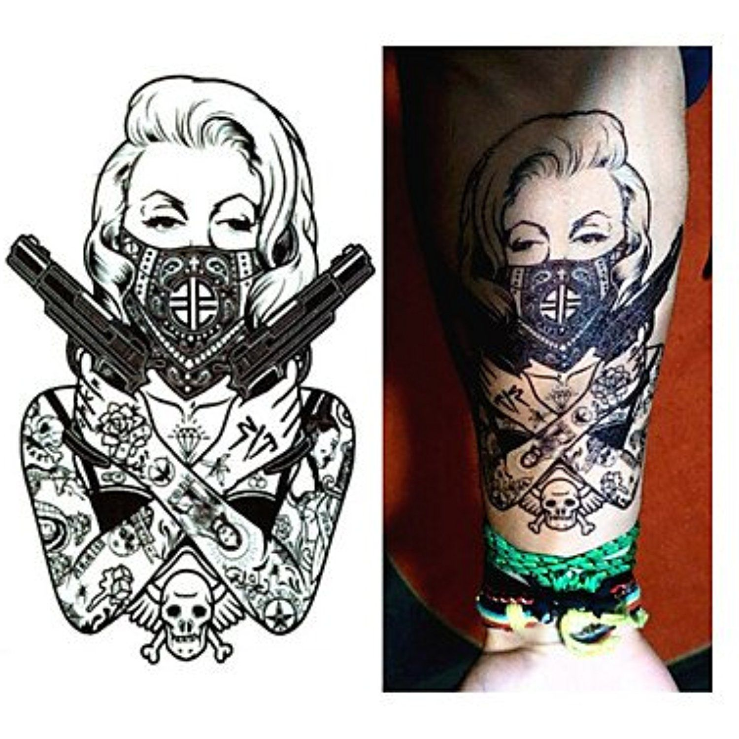 1 pcs new design cool tattoo girl with guns 19x12cm waterproof temporary tattoo stickers more info could be found at the image url