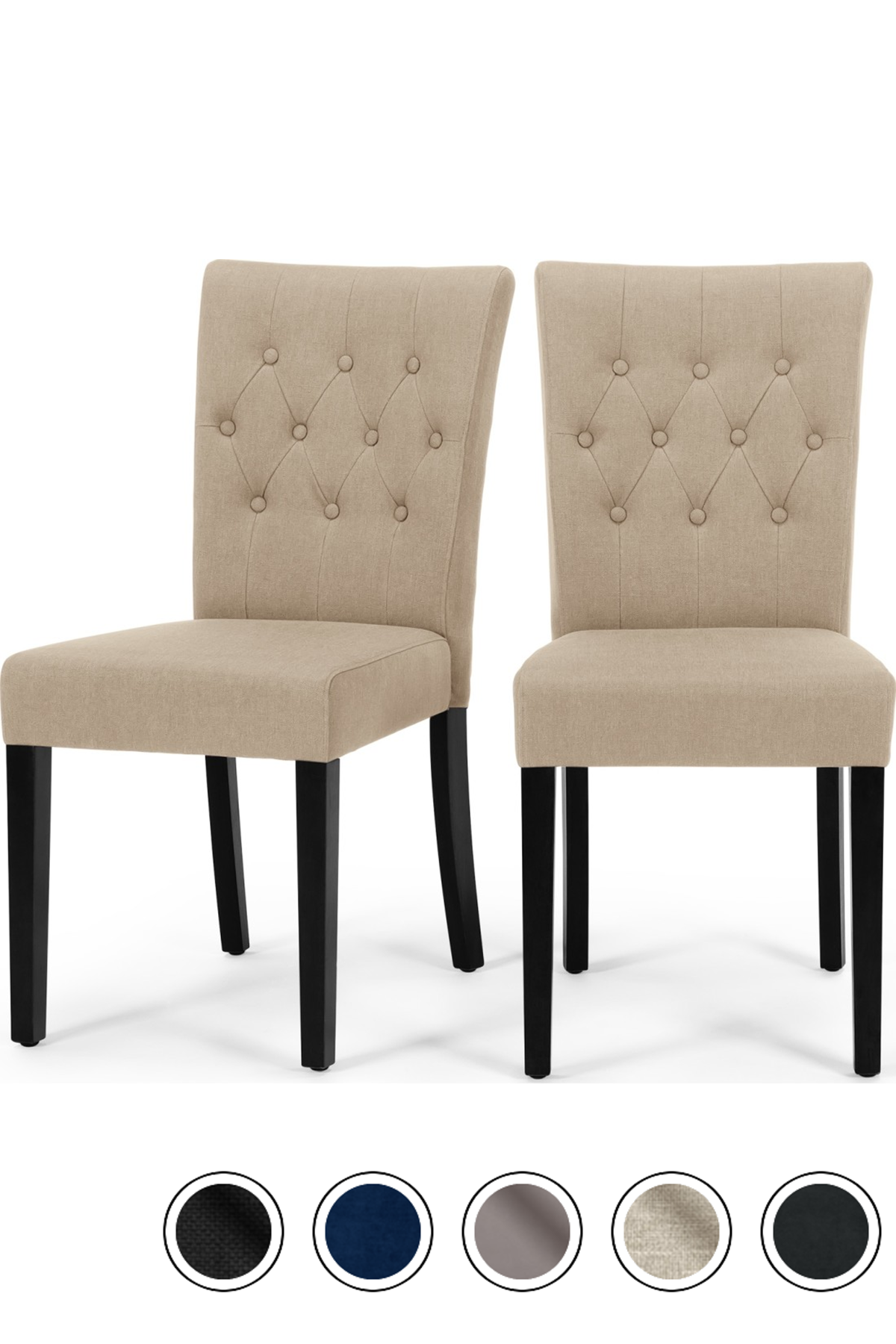 Best Made Set Of 2 Dining Chairs Biscuit Beige Black 400 x 300