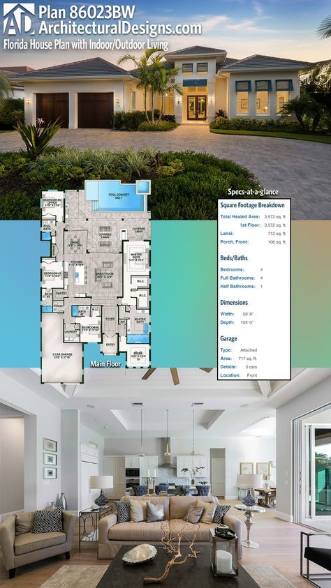 Architectural designs contemporary plan bw gives you over square feet of heated living space beds and baths ready when are also florida house with indoor outdoor rh pinterest