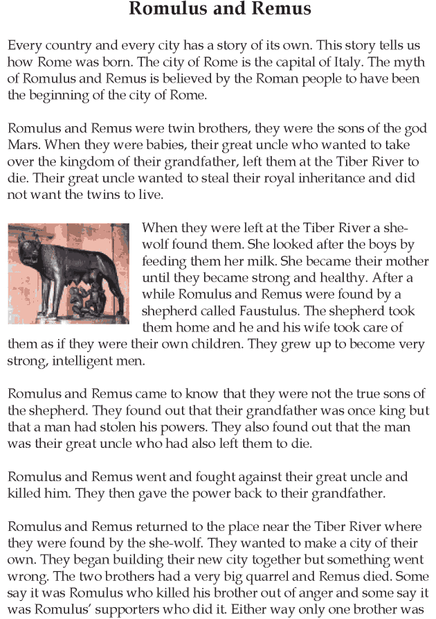 Grade 5 Reading Lesson 17 Myths And Legends Romulus And Remus 1