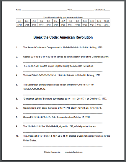 American Revolution Code Puzzle - Worksheet is free to print ...
