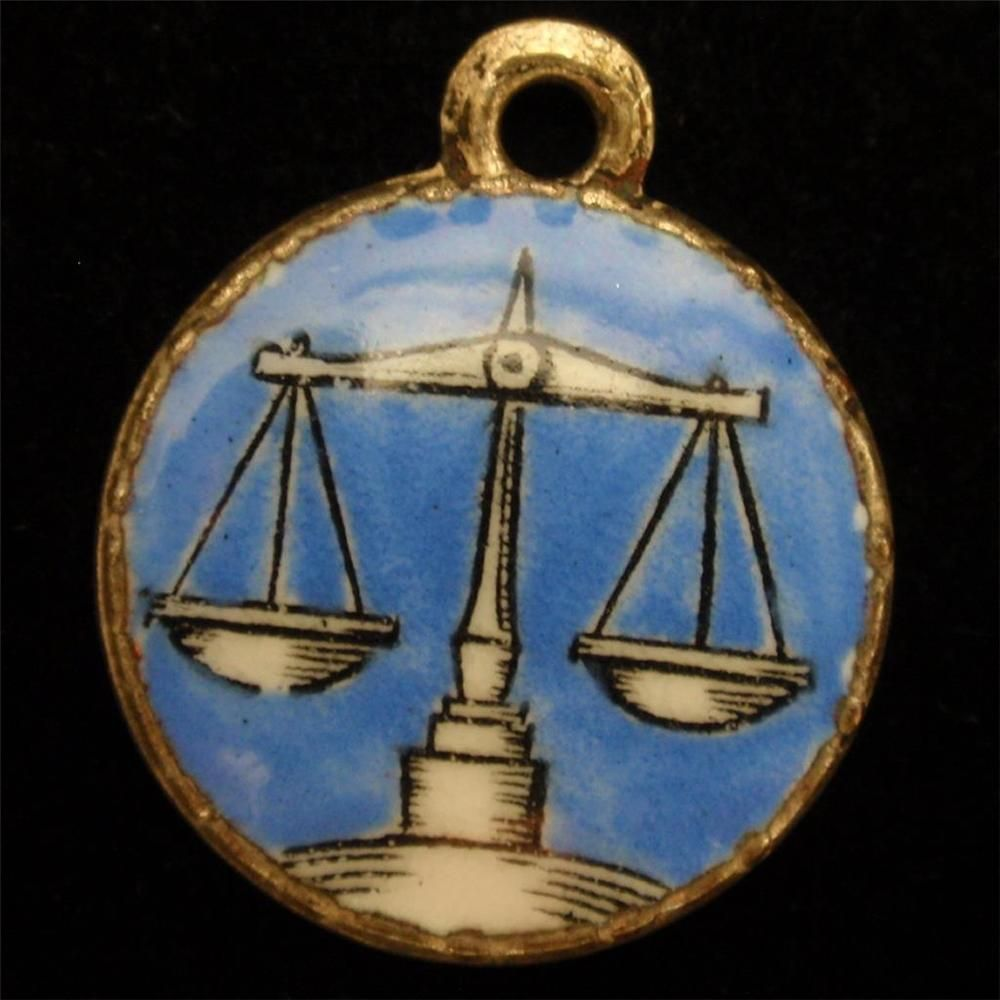 Zodiac Charm Libra Scales Vintage Blue & White Enamel Hard-To-Find Star Sign