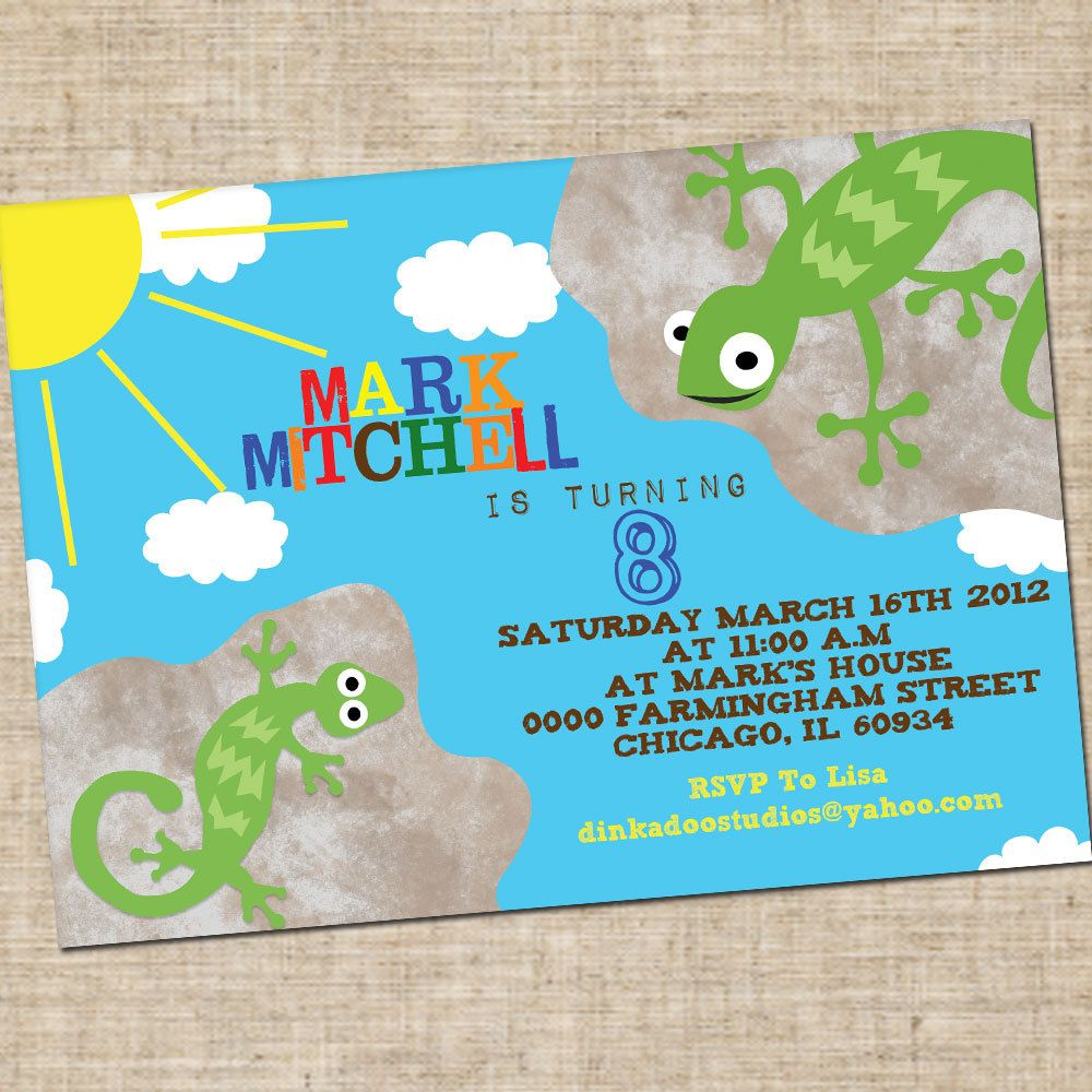 Printable Boys Birthday Lizard Invitation Personalized Digital