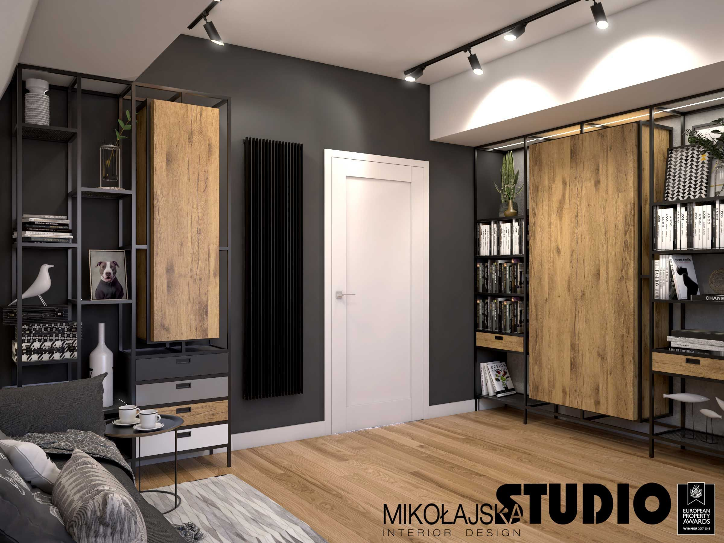 black wall, white door, black radiator, steel element …- c…