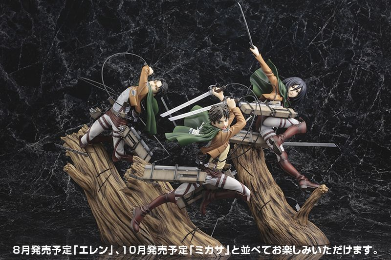 Attack on Titan Levi, Eren, and Mikasa ArtFX J Statues by Kotobukiya #anime #manga