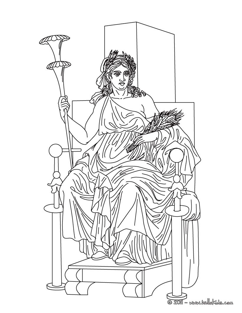 Coloring Pages Of Goddesses For Free Demeter The Greek Goddess Of The Harvest Coloring Page Greek Gods And Goddesses Greek Gods Coloring Pages