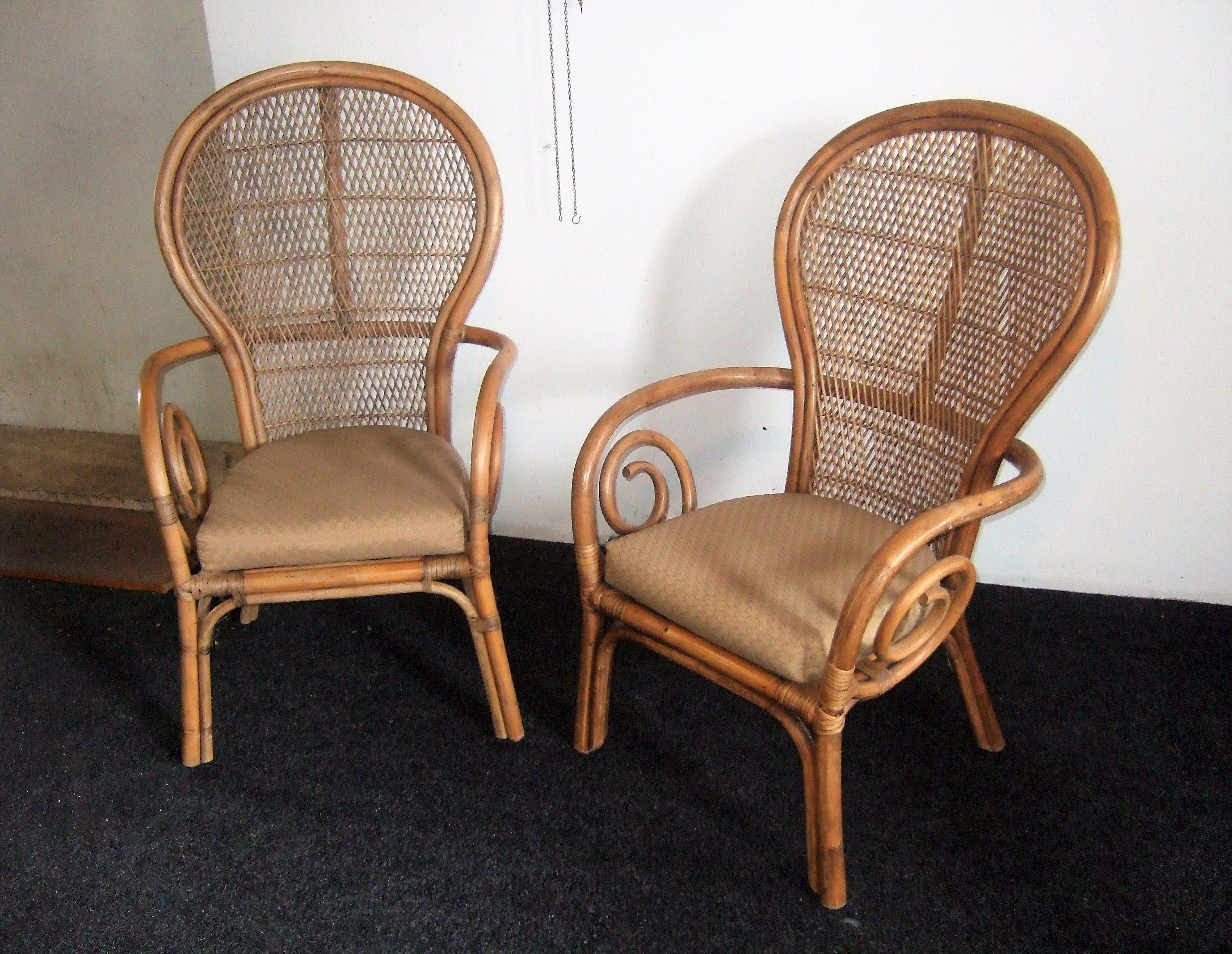 Kussens Voor Stoelen : Vintage rotan rieten stoelen pauwstoel pauwstoel stijl rieten