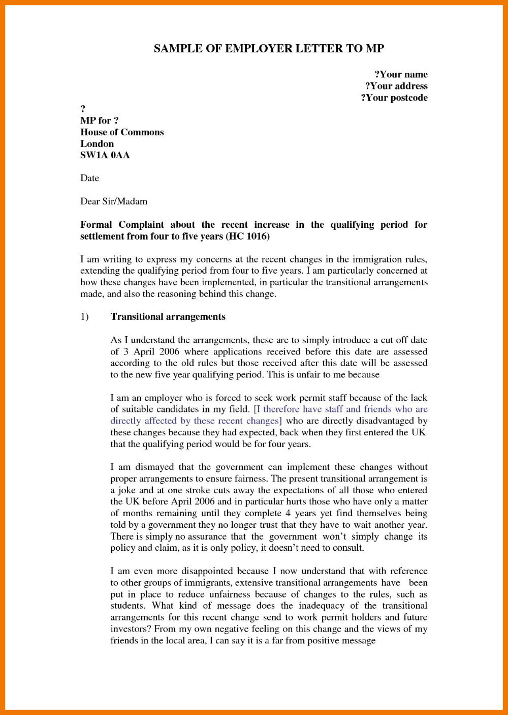 Formal Letter Of Complaint To Employer Template in 2020