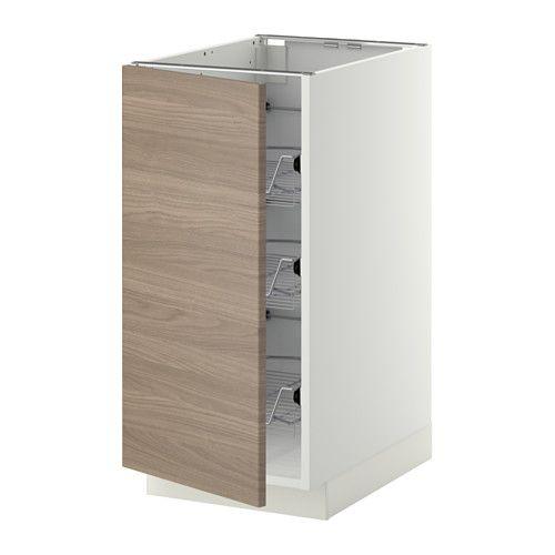 IKEA - METOD, Past spintelė su viel krepšiais, balta, Brokhult riešutmedžio raštas šviesi pilka, 40x60 cm, , Švelniai slankiojantys tinkliniai krepšiai ir stabdikliu. Puikiai tinka laikyti puodus, keptuves ir kitus indus.Tvirta rėmo konstrukcija, 18 mm storio.Dureles galima tvirtinti dešinėje ar kairėje. Lankstai su fiksavimo funkcija. Duris galima tvirtinti prie lankstų be atsuktuvo ir lengvai jas nuimti, jei reikia išvalyti.