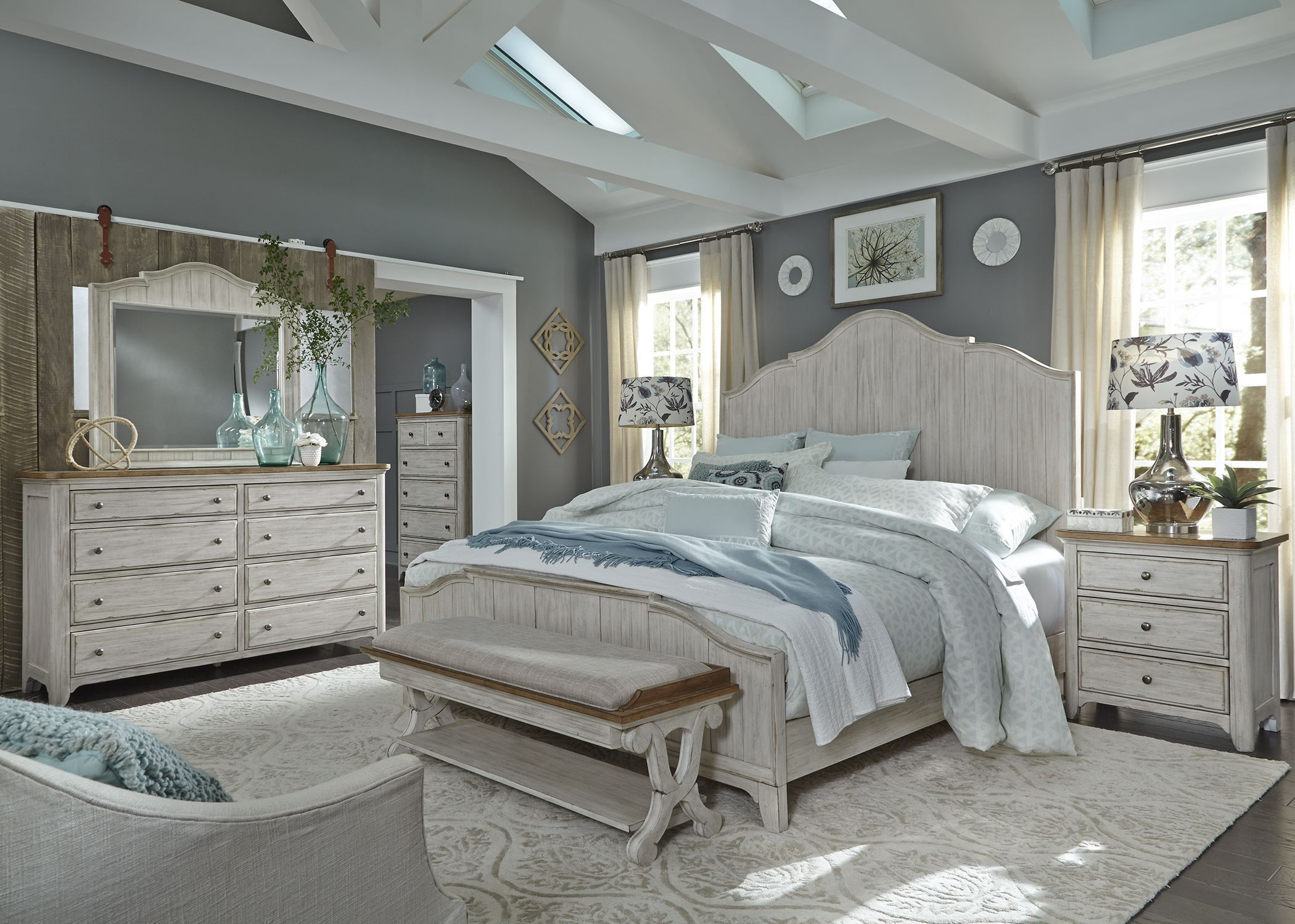 farmhouse reimagined antique white panel bedroom set in