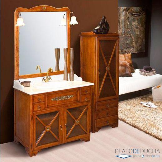 Mueble de ba o alba con encimera de m rmol y acabado for Mueble bano rustico blanco