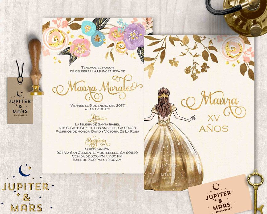Gold quinceaera invitation quinceanera invitation invitacion de gold quinceaera invitation quinceanera invitation invitacion de quinceera oro gold pastel floral solutioingenieria Image collections