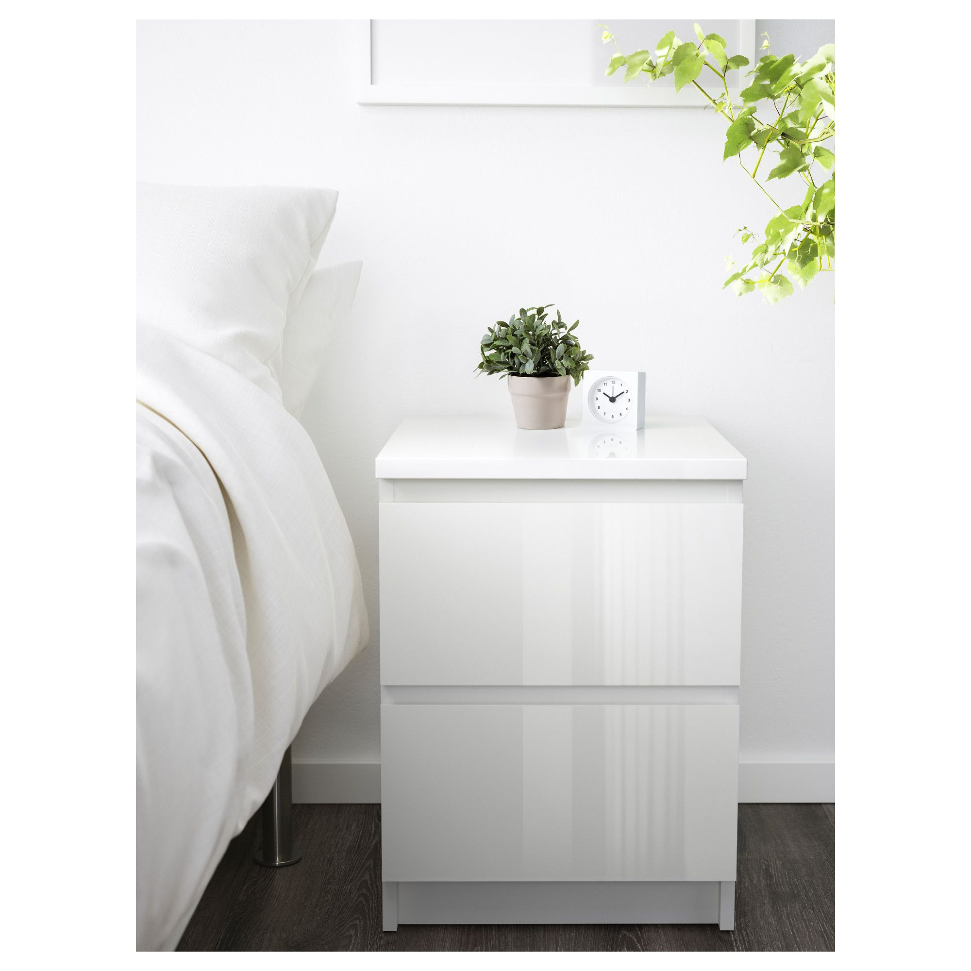 White Gloss Drawers Malm Chest Of 2 Drawers White High Gloss Ikea