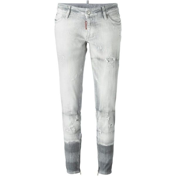 Dsquared2 Cool Girl Tapered Jeans (£485) ❤ liked on Polyvore featuring jeans, grey, dsquared2, destroyed jeans, cropped jeans, gray jeans and distressed jeans