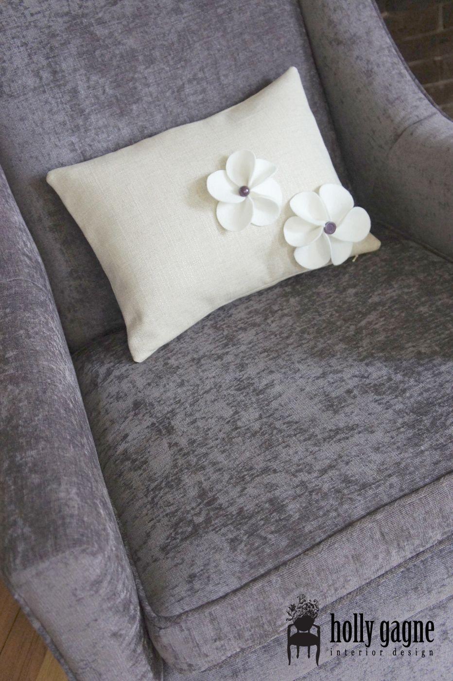 re-upholstered chair & custom pillow