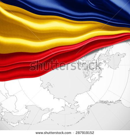 Romania  flag of silk and world map background