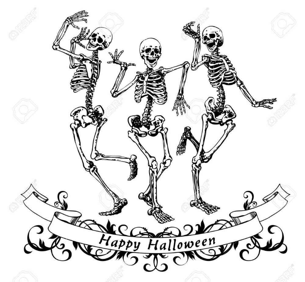 Happy Halloween Dancing Skeletons Isolated Vector Illustration Skeleton Drawings Skeleton Illustration Skeleton Art