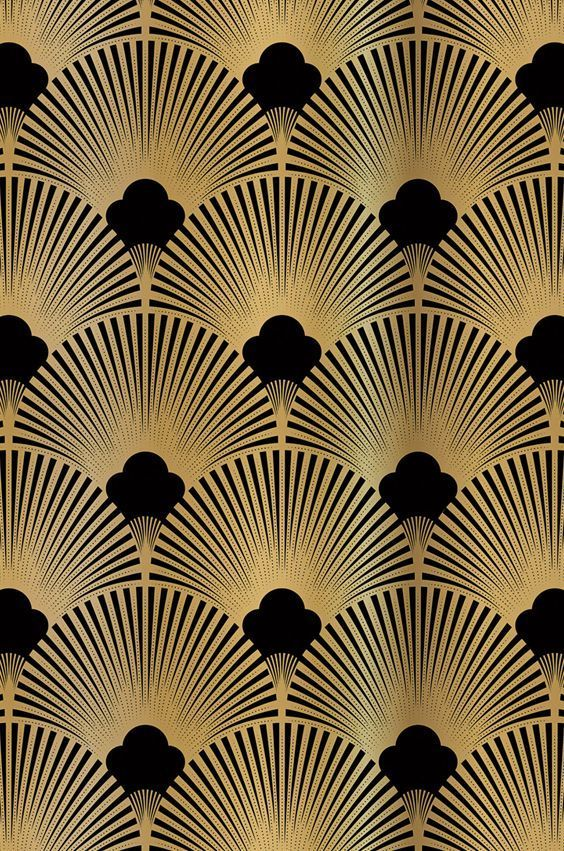 Golden 20ies Art Deco pattern for wallpapers and niche back wall exclusive to ... - Wall Fixtures Pin